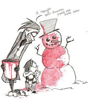 """I thought your snowman could use some color"""