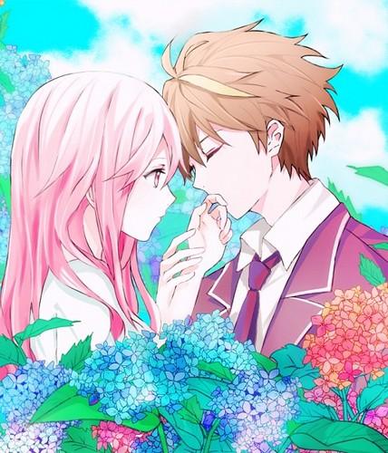 Casais De Anime Wallpaper Possibly Containing A Bouquet Called Shu X Inori LOVE