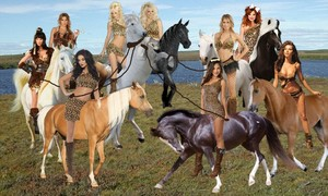 A Group of Sexy Cavewomen teamed up to capture a Beautiful Wild White Stallion