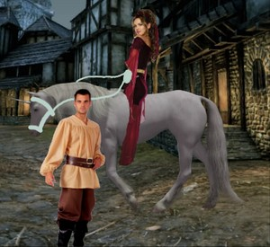 A Hot Enchantress riding her Beautiful Unicorn corcel, steed around the Peasant Boy and begin to seduce him