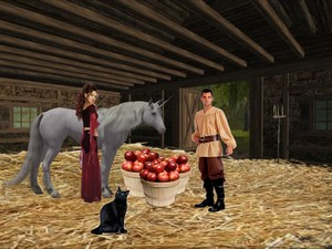 A Young Peasant Boy feeding The Lovely Sexy Enchantress's Beautiful Unicorn with apples