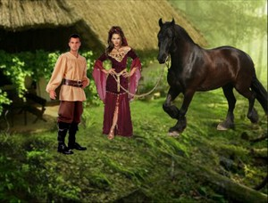An Hot Charming Enchantress brought the Young Peasant Boy an Horse