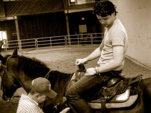 Andrew taking horse riding lessons