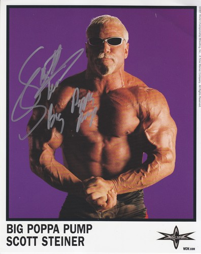 World Championship Wrestling Hintergrund possibly containing a hunk, sunglasses, and a six pack called Big Poppa pumpe Scott Steiner