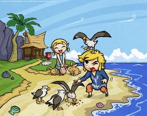 COLLAB with Zellie669 Wind Waker Outset Siblings oleh Purrdemonium