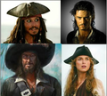 Captain Jack Sparrow, Will Turner, Elizabeth Swann, and Captain Hector Barbossa - pirates-of-the-caribbean photo