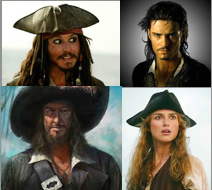 Captain Jack Sparrow, Will Turner, Elizabeth Swann, and Captain Hector Barbossa