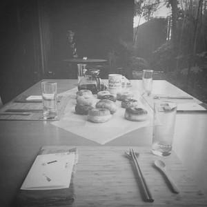 Chopsticks, doughnuts, coffee...