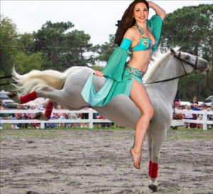 Cute Belly Dancer riding her Beautiful Lippizaner Stallion
