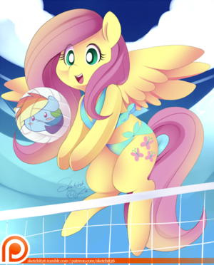 Cute Flutters playing volleyball