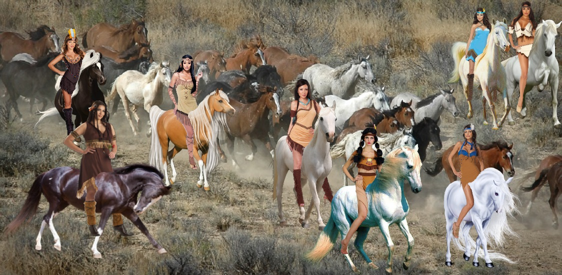 Cute Hot Native American Girls taming an Herd of Beautiful Wild Mustangs