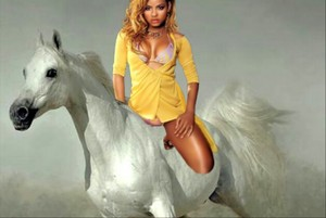 Cute Sexy Girl riding on her Beautiful White Horse