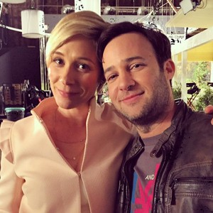 Danny Strong and Liza Weil on set of Gilmore Girls