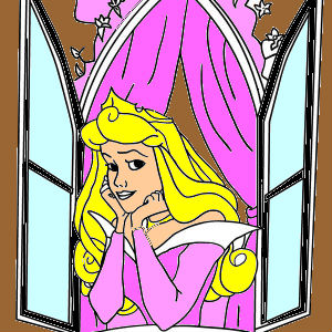Disney Princess Aurora Open Her Window in Sleeping Beauty Coloring Page 300x300