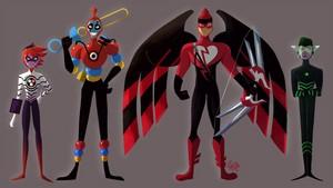 Evillustrator, Bubbler, Dark Cupid and Gamer