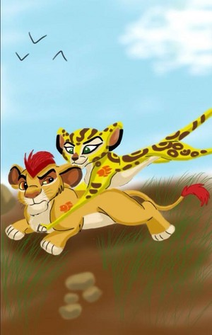 Fuli pouncing on Kion