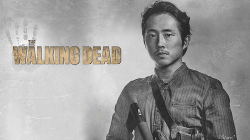 The Walking Dead karatasi la kupamba ukuta possibly with a sign titled Glenn Rhee