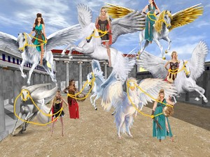 Hot birago Warrior Women trains to tame and ride Beautiful Pegasus as their steeds