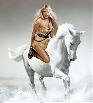 Hot Babe rides on an Beautiful White Horse