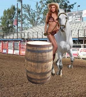 Hot Sexy Cowgirl started the Bikini Bareback Barrel Race