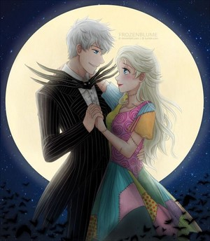 Jack Frost   Elsa as Jack Skellington and Sally