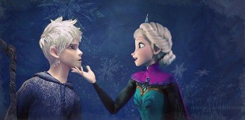 Elsa & Jack Frost karatasi la kupamba ukuta entitled Jack and Elsa