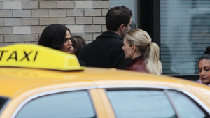 Jennifer Morrison and Lana Parrilla film Once Upon A Time in downtown Vancouver on March 22, 2016.