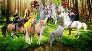 Leetah and the other Wolfriders work together to tame an Beautiful White Stallion