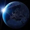 Light touching earth - blue photo