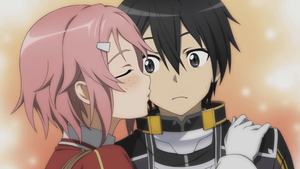 Lisbeth चुंबन Kirito on his cheek