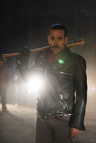 The Walking Dead wallpaper probably containing a hip boot, a rifleman, and a concert called Negan