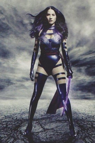 "X-Men wallpaper with a breastplate and a hip boot titled New 'Empire' stills for ""X-men: Apocalypse"" -- Olivia Munn as Elizabeth Braddock / Psylocke"