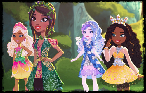 Ever After High wallpaper titled Nina Thumbell,Jillian Beanstalk,Farrah Goodfairy and Justine Dancer