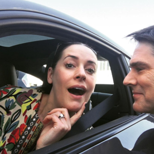 Paget Brewster and Thomas Gibson on set of Criminal Minds
