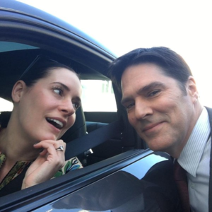 Paget and Thomas on set of Criminal Minds :)