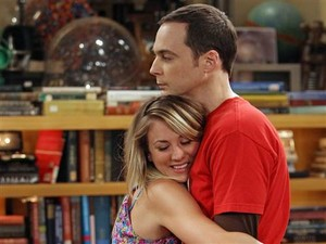 Penny hugs Sheldon