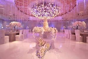 pink wedding reception room