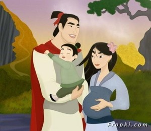 Pregnant mulan, Li shang, and their son