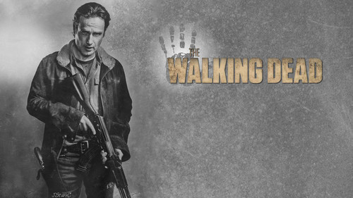 The Walking dead wallpaper with a rifleman, a green beret, and a navy foca, guarnizione called Rick Grimes