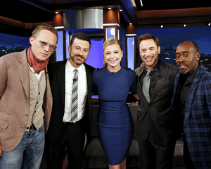 Robert Downey, Jr., Don Cheadle, Emily VanCamp and Paul Bettany visit 'Jimmy Kimmel Live' on Apr