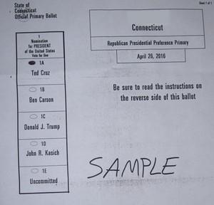 Sample Connecticut Ballot for Cruz