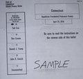 Sample Connecticut Ballot for Cruz