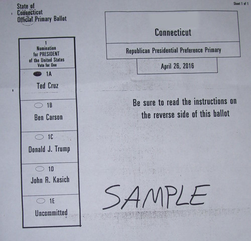 U.S. Republican Party Hintergrund titled Sample Connecticut Ballot for Cruz