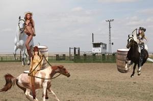 Sexy Cowgirl Babes start practicing for The Bikini Bareback Barrel Race