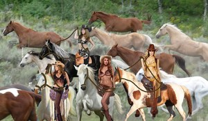 Sexy Cowgirls rounding up and tames a Herd of Beautiful Wild Mustangs