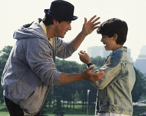 Sylvester Stallone and Sage in Rocky V