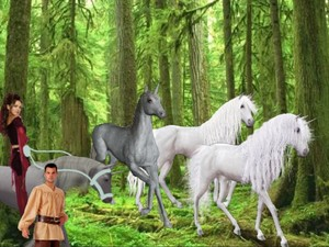 The Hot Enchantress had saw 3 Beautiful Wild unicornios and wanted An Peasant Boy to tame them for her
