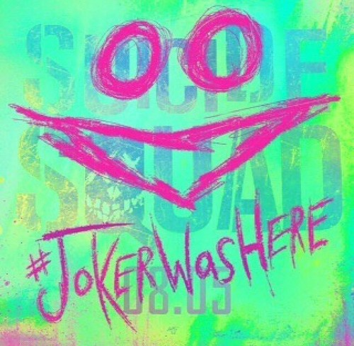 Suicide Squad 바탕화면 possibly with a sign and 아니메 titled #JokerWasHere 아이콘
