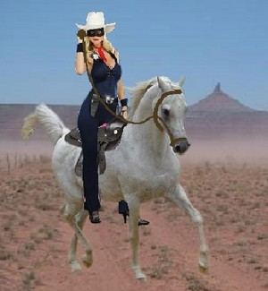 The Lone Rider riding her Beautiful White Arabian Stallion corcel, steed named Storm Racer