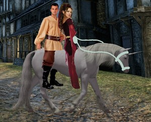 The Lovely Enchantress riding her Unicorn corcel, steed with an Young Peasant Boy far off from the village